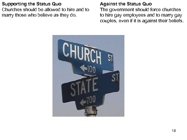 Supporting the Status Quo Churches should be allowed to hire and to marry those