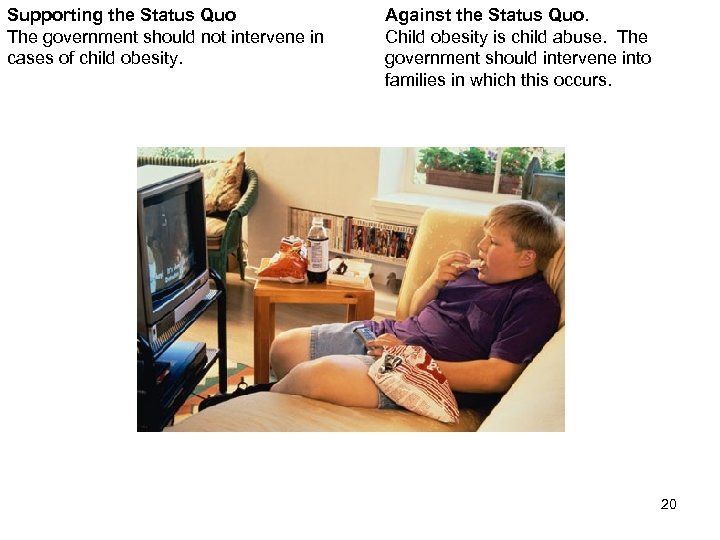 Supporting the Status Quo The government should not intervene in cases of child obesity.