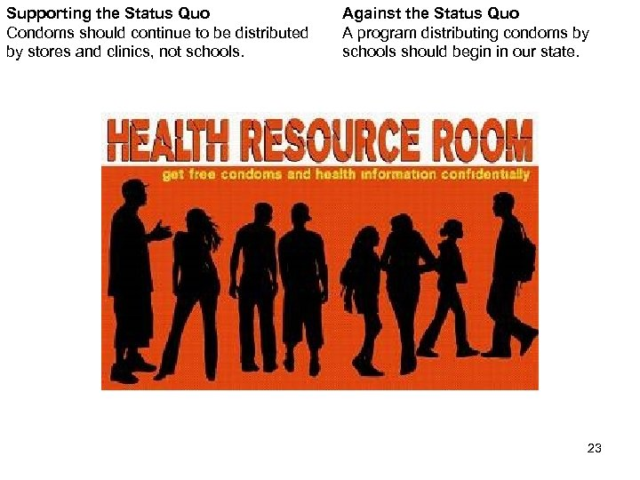 Supporting the Status Quo Condoms should continue to be distributed by stores and clinics,