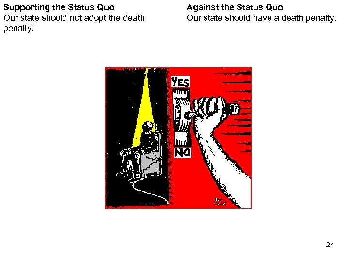 Supporting the Status Quo Our state should not adopt the death penalty. Against the