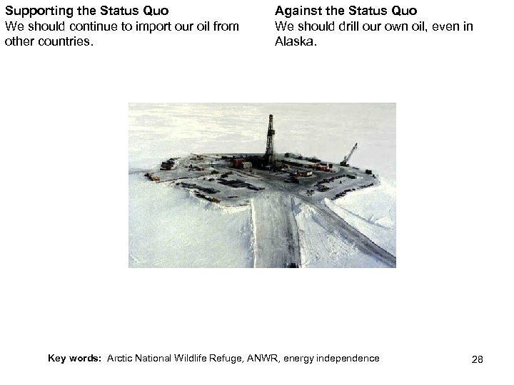 Supporting the Status Quo We should continue to import our oil from other countries.