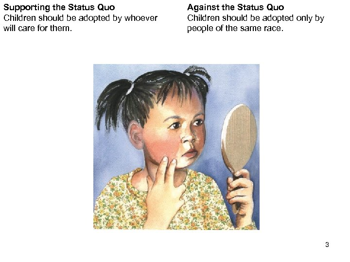 Supporting the Status Quo Children should be adopted by whoever will care for them.
