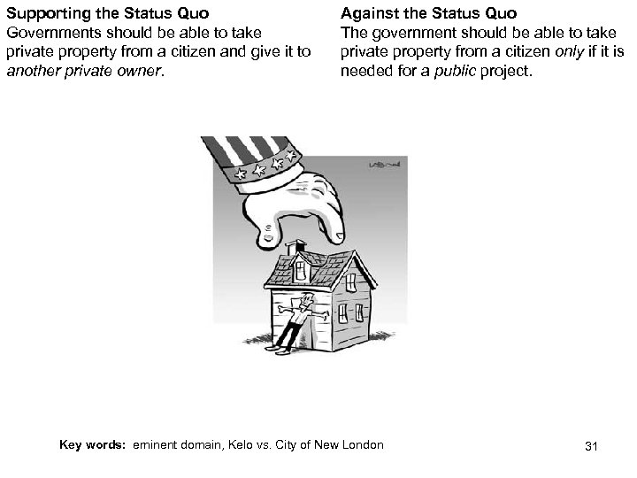 Supporting the Status Quo Governments should be able to take private property from a
