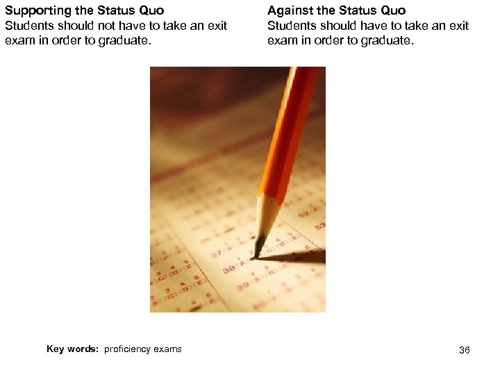 Supporting the Status Quo Students should not have to take an exit exam in