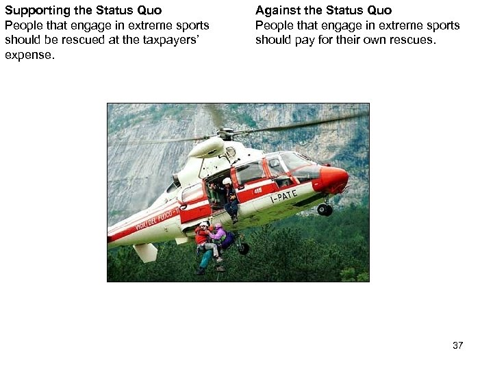 Supporting the Status Quo People that engage in extreme sports should be rescued at
