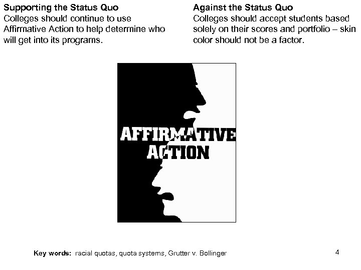Supporting the Status Quo Colleges should continue to use Affirmative Action to help determine