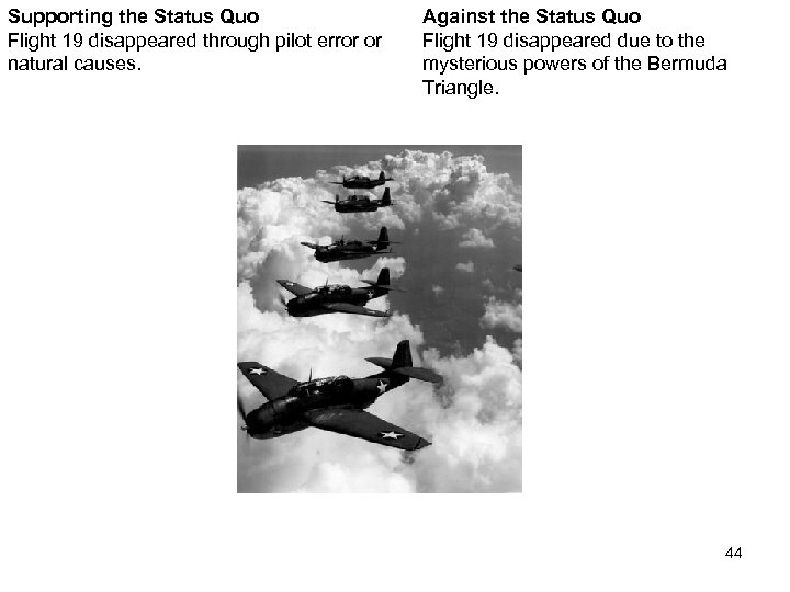 Supporting the Status Quo Flight 19 disappeared through pilot error or natural causes. Against
