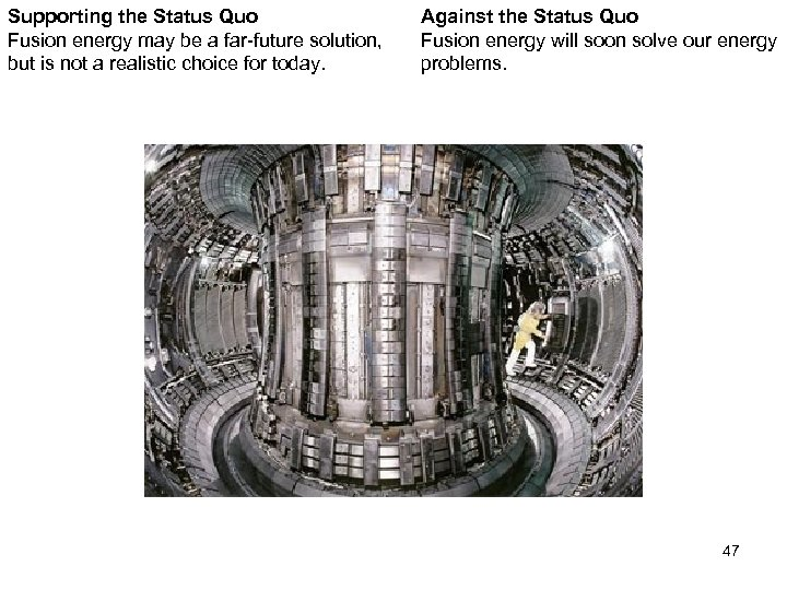 Supporting the Status Quo Fusion energy may be a far-future solution, but is not