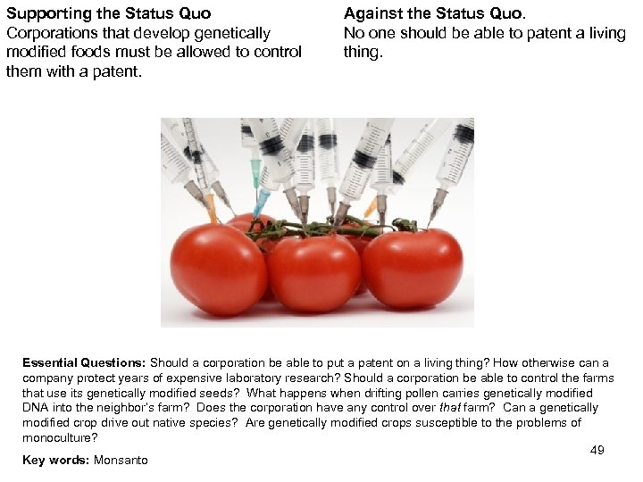 Supporting the Status Quo Corporations that develop genetically modified foods must be allowed to