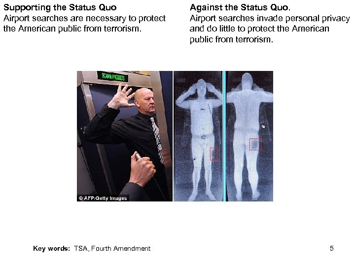 Supporting the Status Quo Airport searches are necessary to protect the American public from