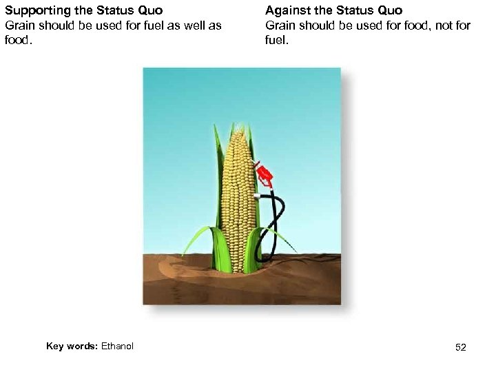Supporting the Status Quo Grain should be used for fuel as well as food.