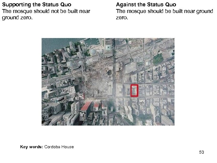 Supporting the Status Quo The mosque should not be built near ground zero. Against