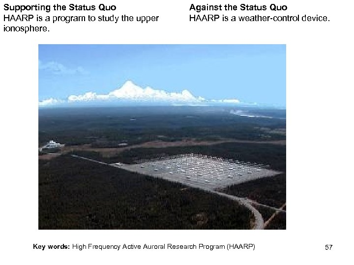 Supporting the Status Quo HAARP is a program to study the upper ionosphere. Against