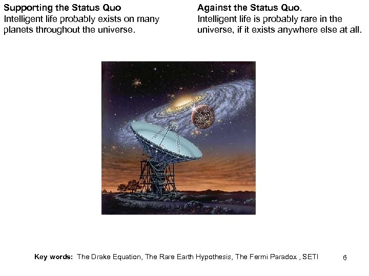 Supporting the Status Quo Intelligent life probably exists on many planets throughout the universe.