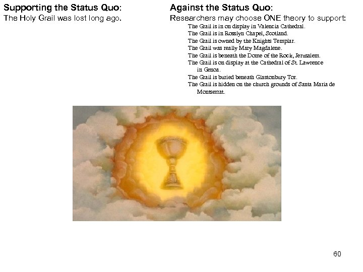Supporting the Status Quo: Against the Status Quo: The Holy Grail was lost long
