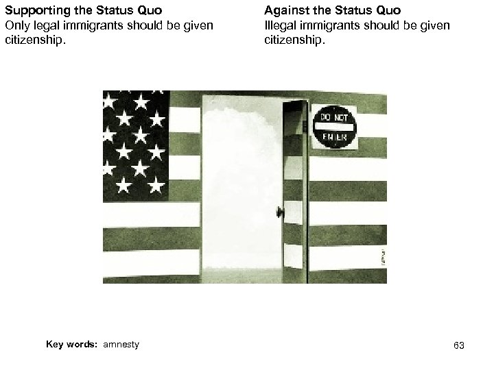 Supporting the Status Quo Only legal immigrants should be given citizenship. Against the Status