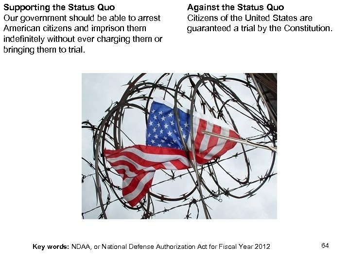 Supporting the Status Quo Our government should be able to arrest American citizens and