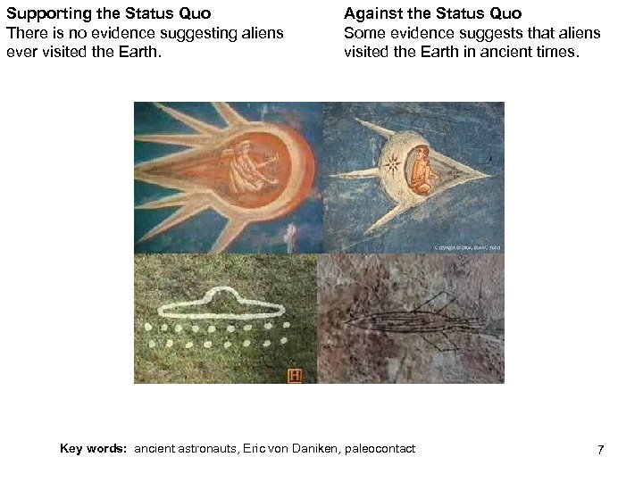 Supporting the Status Quo There is no evidence suggesting aliens ever visited the Earth.