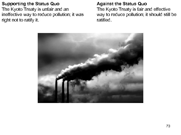 Supporting the Status Quo The Kyoto Treaty is unfair and an ineffective way to
