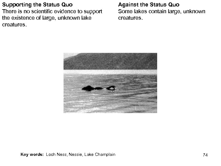 Supporting the Status Quo There is no scientific evidence to support the existence of