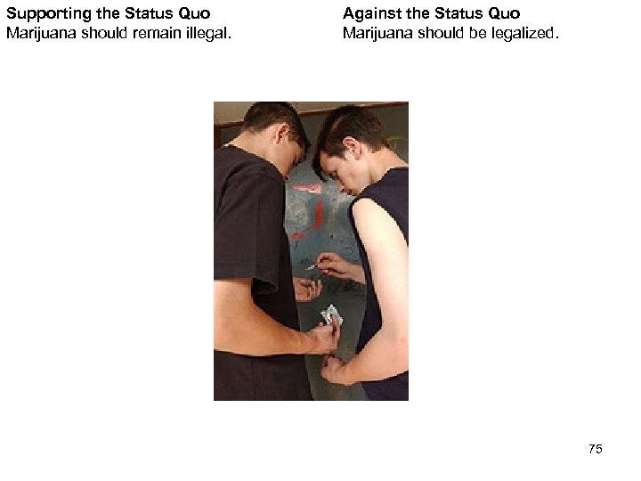 Supporting the Status Quo Marijuana should remain illegal. Against the Status Quo Marijuana should