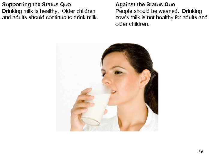 Supporting the Status Quo Drinking milk is healthy. Older children and adults should continue