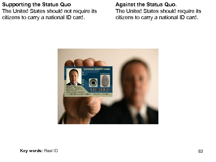 Supporting the Status Quo The United States should not require its citizens to carry