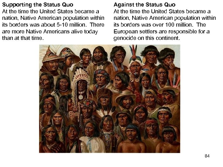Supporting the Status Quo At the time the United States became a nation, Native