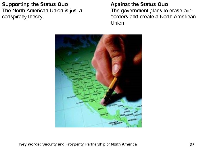 Supporting the Status Quo The North American Union is just a conspiracy theory. Against