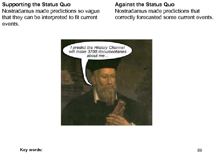 Supporting the Status Quo Nostradamus made predictions so vague that they can be interpreted