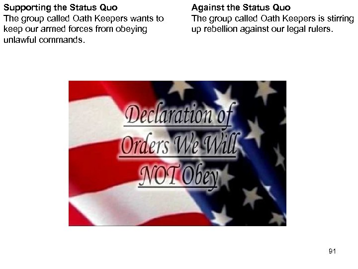 Supporting the Status Quo The group called Oath Keepers wants to keep our armed