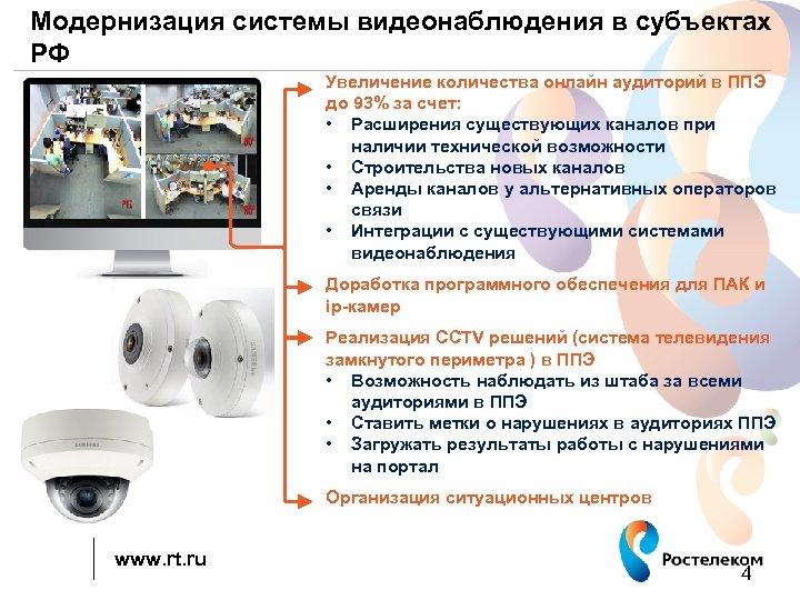 Модернизация системы видеонаблюдения в субъектах РФ Увеличение количества онлайн аудиторий в ППЭ до 93%