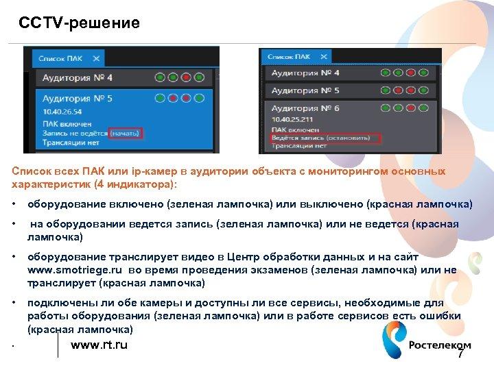 CCTV-решение Список всех ПАК или ip-камер в аудитории объекта с мониторингом основных характеристик (4