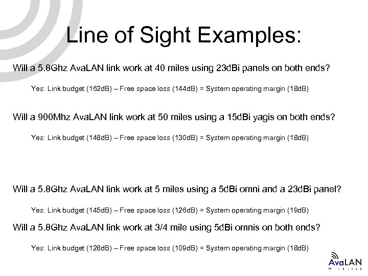 Line of Sight Examples: Will a 5. 8 Ghz Ava. LAN link work at