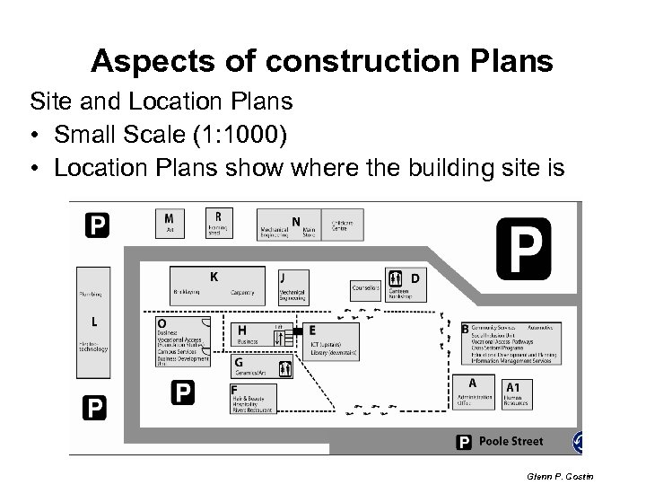 Aspects of construction Plans Site and Location Plans • Small Scale (1: 1000) •