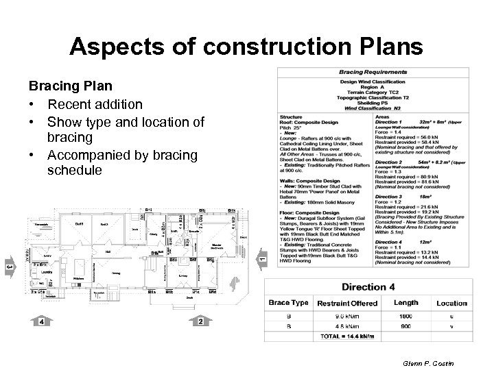 Aspects of construction Plans Bracing Plan • Recent addition • Show type and location