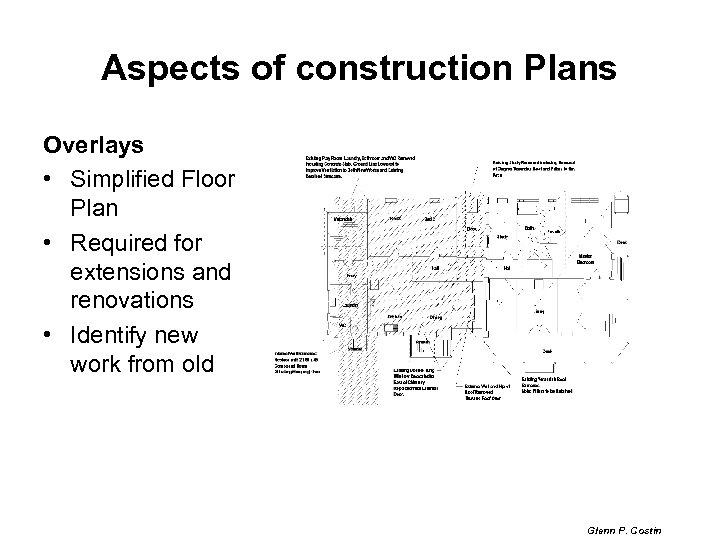 Aspects of construction Plans Overlays • Simplified Floor Plan • Required for extensions and