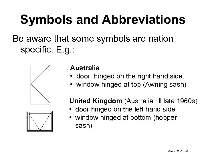 Symbols and Abbreviations Be aware that some symbols are nation specific. E. g. :