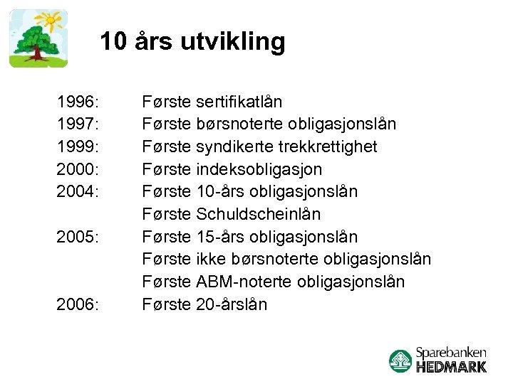 10 års utvikling 1996: 1997: 1999: 2000: 2004: 2005: 2006: Første sertifikatlån Første børsnoterte