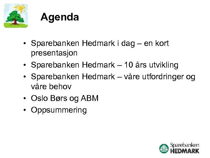 Agenda • Sparebanken Hedmark i dag – en kort presentasjon • Sparebanken Hedmark –