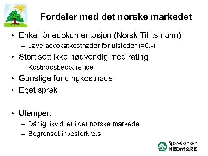 Fordeler med det norske markedet • Enkel lånedokumentasjon (Norsk Tillitsmann) – Lave advokatkostnader for