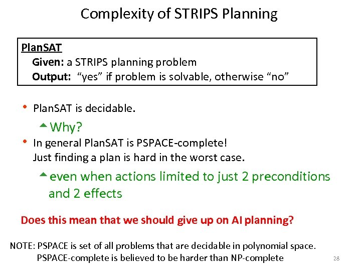"""Complexity of STRIPS Planning Plan. SAT Given: a STRIPS planning problem Output: """"yes"""" if"""