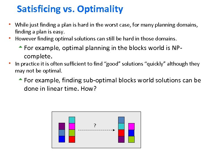 Satisficing vs. Optimality h While just finding a plan is hard in the worst