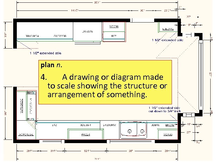 plan n. 4. A drawing or diagram made to scale showing the structure or