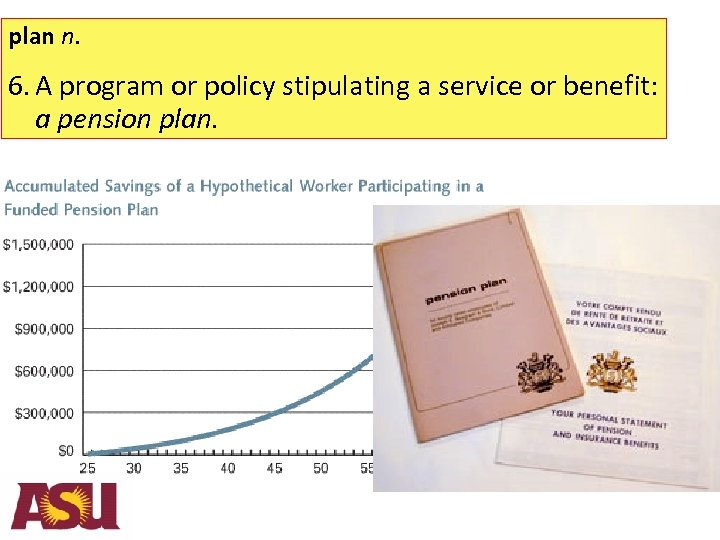 plan n. 6. A program or policy stipulating a service or benefit: a pension