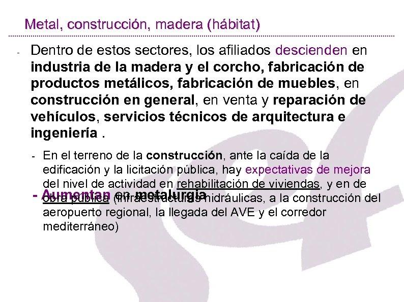 Metal, construcción, madera (hábitat) - Dentro de estos sectores, los afiliados descienden en industria