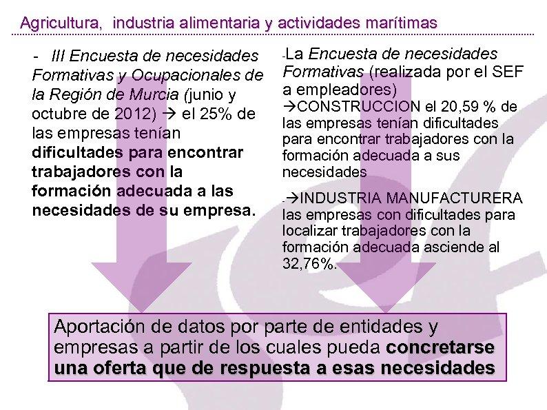 Agricultura, industria alimentaria y actividades marítimas La Encuesta de necesidades Formativas (realizada por el