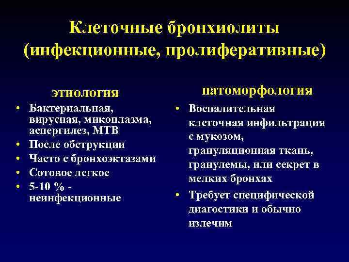 Клеточные бронхиолиты (инфекционные, пролиферативные) этиология • Бактериальная, вирусная, микоплазма, аспергилез, MTB • После обструкции