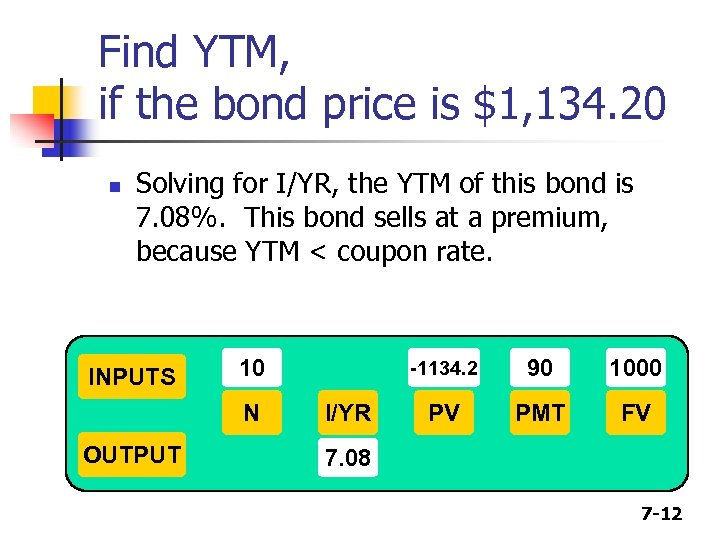 Find YTM, if the bond price is $1, 134. 20 n Solving for I/YR,