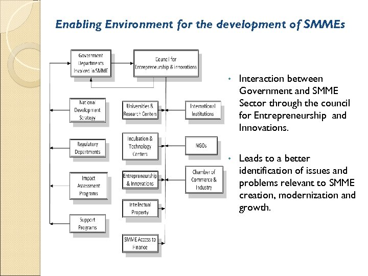 Enabling Environment for the development of SMMEs • Interaction between Government and SMME Sector